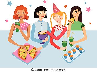 Birthday Party With Four Cute Girls Friends Vector Illustration