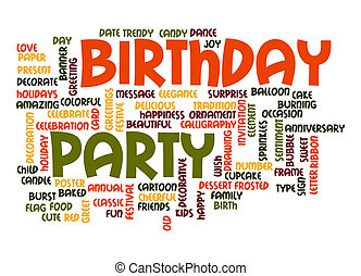 Birthday party word cloud