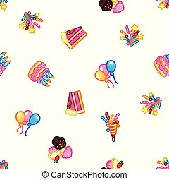Birthday pattern background. Sweet cake with candles for celebration party, cake, confectionery cupcakes, colorful balloon, festive flapper and fireworks for holiday.