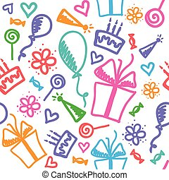 birthday pattern - funny seamless pattern of birthday with ...