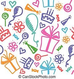 birthday pattern - funny seamless pattern of birthday with ...