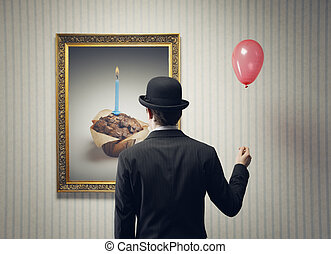 Birthday - Man Celebrating his birthday alone, conceptual...