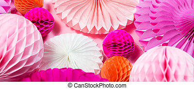 Birthday pink origami circle decor wallpaper. Many round creative folding paper fan background. Banner template