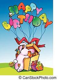 Birthday postcard. - Birthday postcard with bunny and place ...