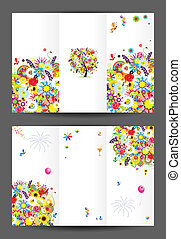 Birthday postcard, cover and inside page. Design for your ...