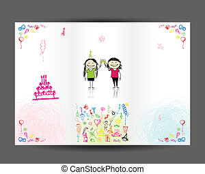 Birthday postcard, inside page. Design for your print
