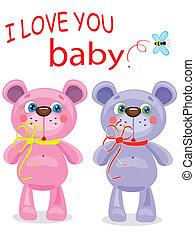 Birthday postcard with bears
