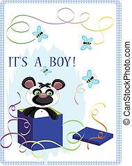 Birthday postcard with panda bear