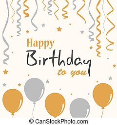Birthday poster with balloons and ribbons template