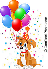 Cute Puppy with birthday balloons and party hat