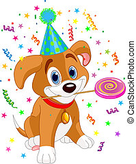 Birthday puppy - Cute Puppy with Party Hat holding lollipop...