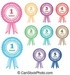 Birthday rosettes for children from 1 year to 5 years in ...