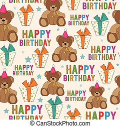 birthday seamless pattern with teddy bear and gifts