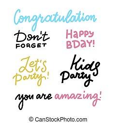 birthday, set., ポスター, design., forget., 葉書, calligraphy., 線, デザイン, カード, レタリング, ∥ましょう∥, ベクトル, 単純である, 幸せ, elements., 活版印刷, パーティー。, ∥そうする∥, カリグラフィー, 引用, 印