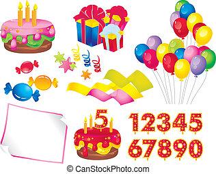 Birthday set - celebration set: a cake with candles, gift...