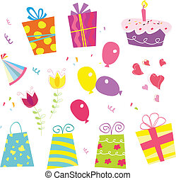 Birthday set - Gifts, baloon, flower, cake, ribbon, hat..