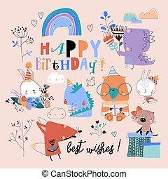 Birthday set with cute animals celebrating holiday