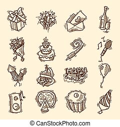 Birthday sketch icon set - Birthday party celebration sketch...