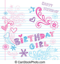birthday, sketchy, doodles, ベクトル, セット