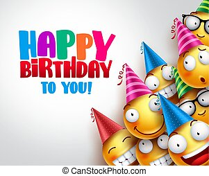 Birthday smileys vector background design with yellow funny and happy emoticons