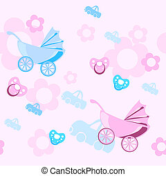 birthday - Pastel colors baby pattern, vector illustration