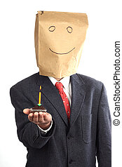 birthday - Businessman with paper bag on his head...