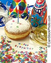 Birthday suprise: donut, streamer and confetti