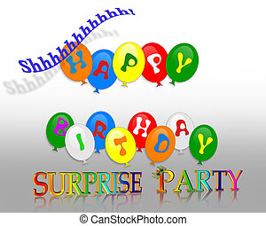 Birthday Surprise Party - Illustration of colorful balloons...