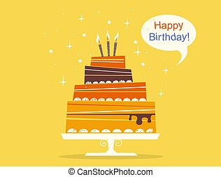 Birthday sweet cake with candles. Vector retro style greeting card with speech bubble.