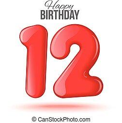 birthday., tarjeta de felicitación, con, numbers.