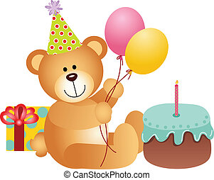Birthday Teddy Bear - Scalable vectorial image representing...