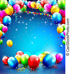 Birthday template with balloons and confetti on blue...