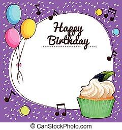 Birthday theme with cupcake illustration