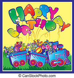 Birthday train. - Happy birthday train carrying presents. ...