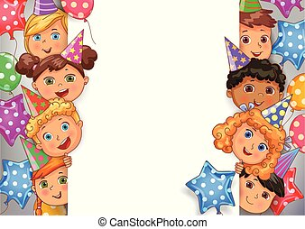 Birthday Vector Design Banner White blank with faces cute kids