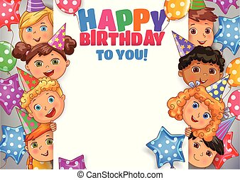 Birthday vector design banner with faces cute kids