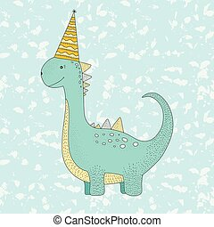 Birthday vector illustration with cute dino.