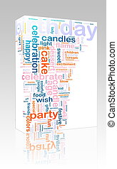 Birthday word cloud box package