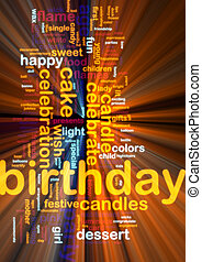 Birthday word cloud glowing