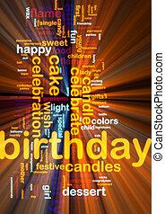 Birthday word cloud glowing