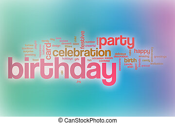 Birthday word cloud with abstract background