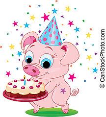 Birthday_pig - Piglet holding birthday cake, smiling. Vector...