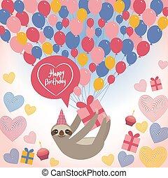 birthdaycard., perezoso, three-toed, regalo, corazón, caja, cumpleaños, fondo., azul, orange., vector, hat., globos, blanco, feliz, pastel, rosa
