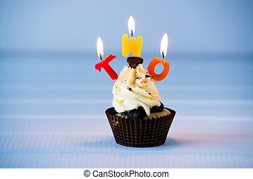 cupcake with a candles for 2 - second birthday