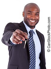 birtok, épület kulcs, üzletember, fiatal, amerikai, afrikai