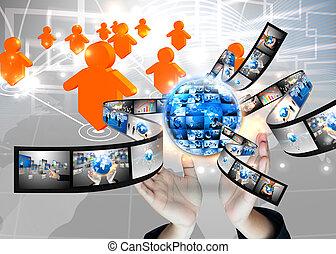 birtok, üzletember, .technology, világ, fogalom