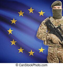 birtok, egyesítés, sorozat, -, pisztoly, gép, katona, lobogó, háttér, eu, európai
