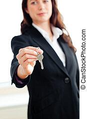 birtok, fiatal, üzletasszony, kulcs