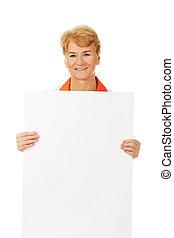 birtok, orvos, öregedő, női, tiszta, mosoly, ápoló, transzparens, vagy