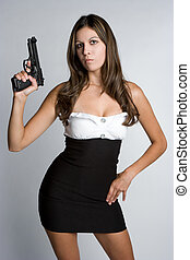 birtok, pisztoly, nő
